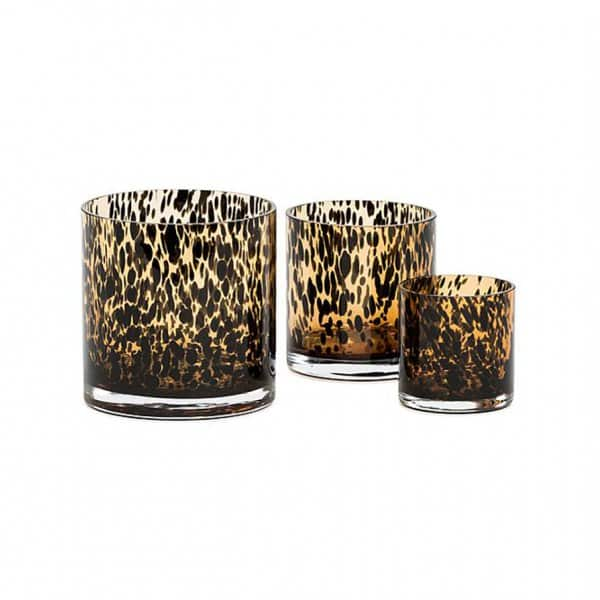 'Spotted' Vase range, handmade from mouth-blown Glass, presented in Amber & Black. By Dekocandle of Belgium