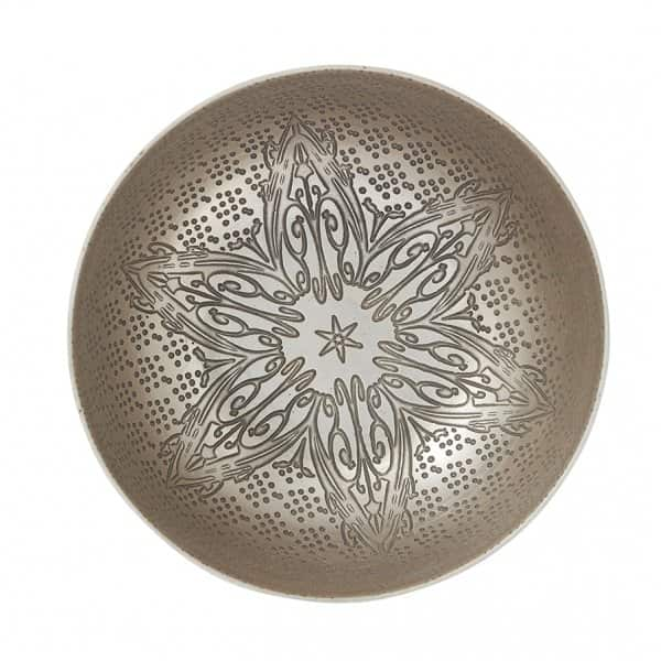 'Starnia' decorative Bowl, with a star in the middle, in Light Gold Aluminium. By Lene Bjerre of Denmark
