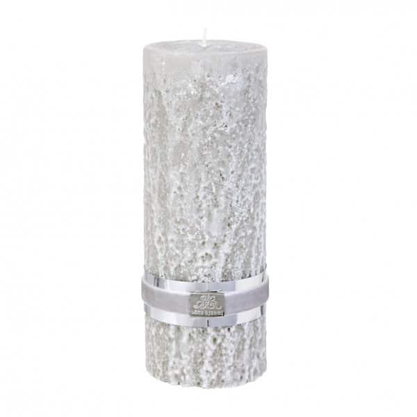 'Stone' Pillar Candle, in Silver Grey, made from 100% Paraffin wax. By Lene Bjerre of Denmark