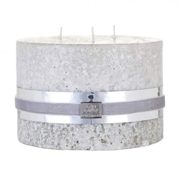 'Stone' triple wick Candle, in Silver Grey, made from 100% Paraffin wax. By Lene Bjerre of Denmark