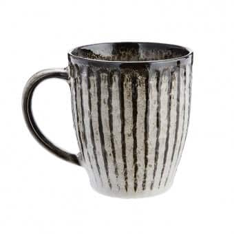 Stoneware Mug in Grey, with Dark vertical stripes. By Madam Stoltz