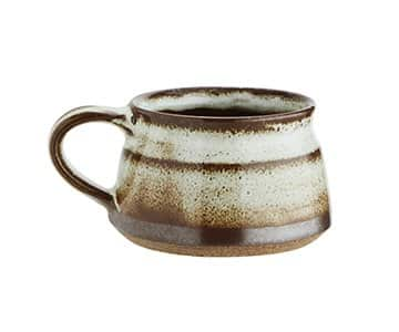 Stoneware Mug in Off White / Brown, with Dark horizontal stripes. By Madam Stoltz of Denmark