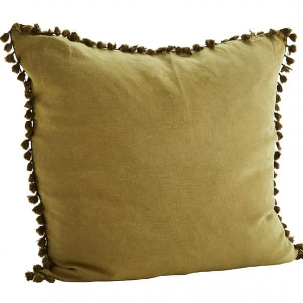 Stonewashed Linen Cushion in Bronze, with Tassels, with a Duck down filling. By Madam Stoltz of Denmark