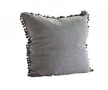 Stonewashed Linen Cushion in Grey, with Tassels, with a Duck down filling. By Madam Stoltz