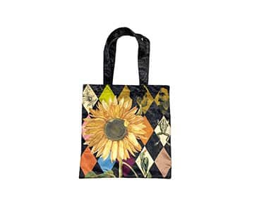'Sunflower' Tote Bag in heavy Velvet, with Cotton lining, by Vanilla Fly of Denmark