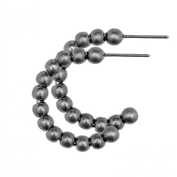 'Tabitha' small Hoop Earrings finished with Hematite plating. By Dansk Copenhagen