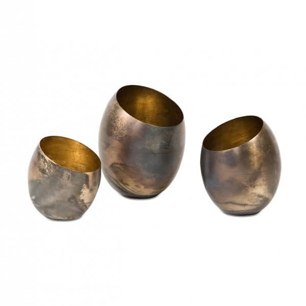 Tea Light Holders (set of 3), hand-crafted from Iron, and beautifully presented in Burnt Silver. By Dekocandle of Belgium