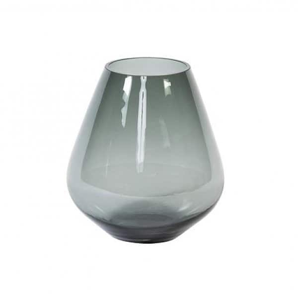 'Teardrop' Vase, presented in Smoke (colour), handmade from mouth-blown Glass. By Dekocandle of Belgium