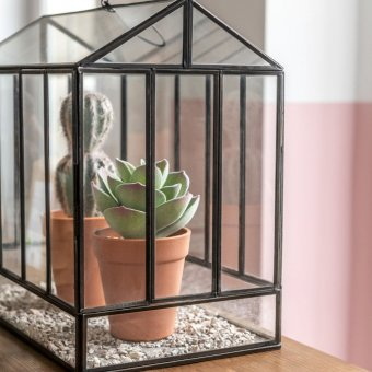 'Terrarium' with hanging hook, shaped like a Greenhouse, Glass & Iron (H:40 x L:34 x W:20cm)