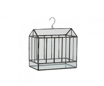 Terrarium with hanging hook, shaped like a Greenhouse, crafted from Glass & Iron. From J-Line by JOLIPA.