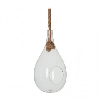 'Terrarium' with hanging rope (Small), oval-shaped, clear Glass (D:15cm)