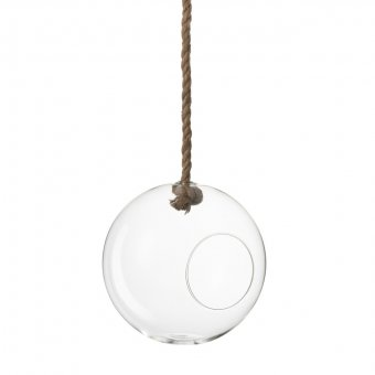 'Terrarium' with hanging rope (Large), oval-shaped, clear Glass (D:25cm)