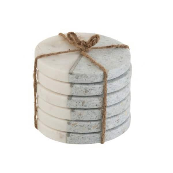 'Terrazzo' Coasters (S/6), beautifully crafted from Stone, presented in White / Blue with a Silver stripe. From J-Line by JOLIPA