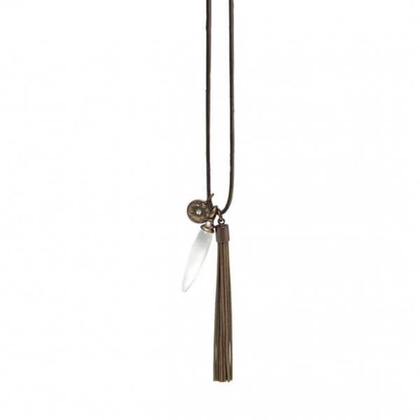 'Thira' adjustable Necklace, in Coffee Gold (colour of metal plating), with a Freshwater Pearl. By Dansk Copenhagen