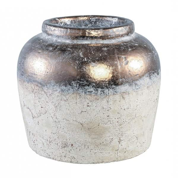 'Thriff' Ceramic Farmer Pot in White/Grey, with Gold glazed top/rim. 50% Off!