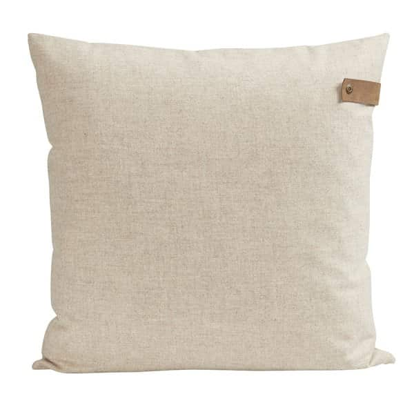 'Tina' - Wool Cushion in Cream, with Leather Shepherd branding strap. By Shepherd of Sweden