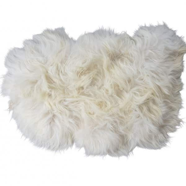 'Torshavn' 100% Long-Haired Sheepskin in White. By Shepherd of Sweden
