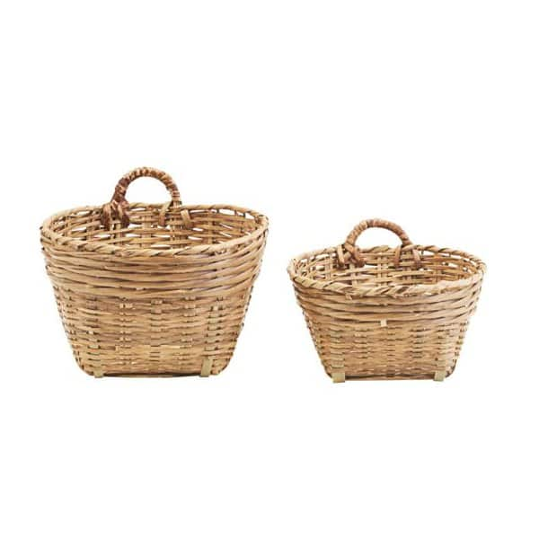 Traditional Basket set (2) with handles, made fro Bamboo, presented in their natural colour. By Meraki of Denmark