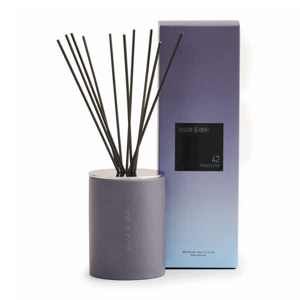 'Transcend' Scented Reed Diffuser, presented in a handmade Ceramic Pot, with a shiny metal lid. By Ester & Erik of Denmark