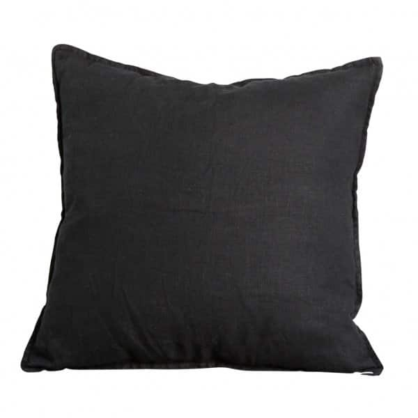 'Trapani' Black Linen Cushion with quality Duck Feather Filling. By ON Interior of Sweden