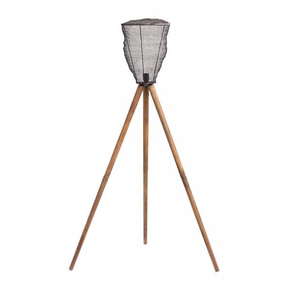 Tripod style Lamp 'Toux' made from Mango Wood with an Iron Mesh, Copper finish Lantern. By PTMD Collection®
