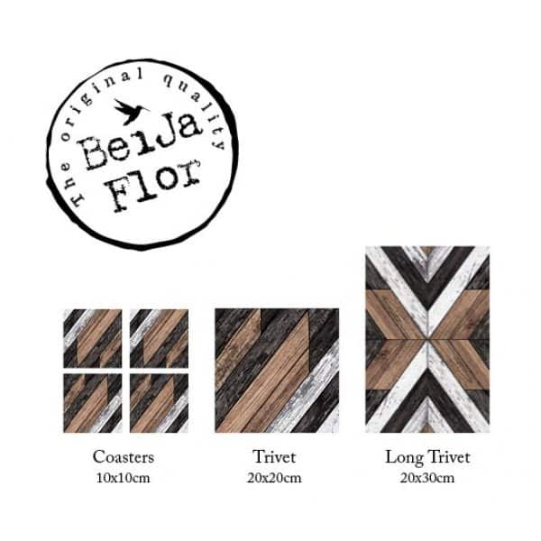 'Trivet' Wood Art range: Tile design / patterned cup & placemats, made from coated wood. By Beija Flor of Israel