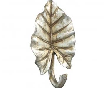 Unique single Wall Hook, in Brass, designed in the shape of a Leaf. By PTMD Collection®