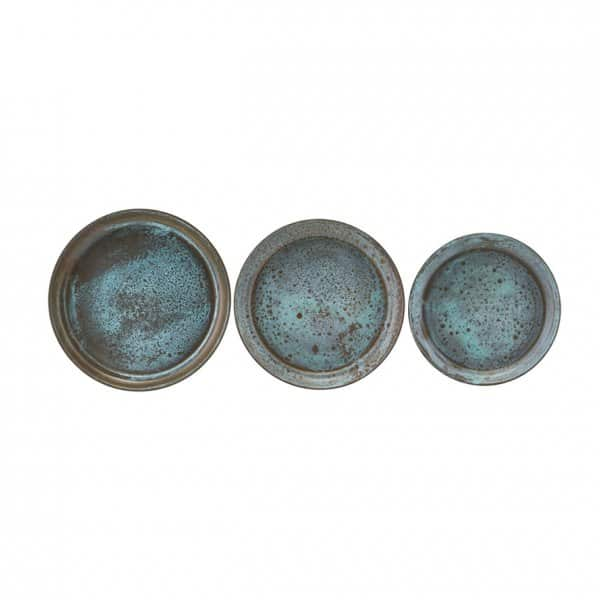 'Use' decorative Trays (Set of 3), made from Steel, and presented in Green. By House Doctor of Denmark