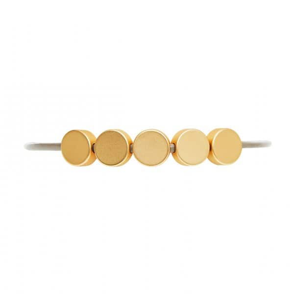 'Vanity' leather strap Bracelet with 5 Gold discs. By Dansk Copenhagen