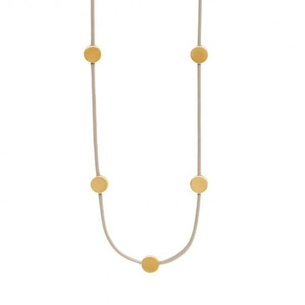 'Vanity' long Leather Necklace with 7 Gold Plated beads. By Dansk Copenhagen