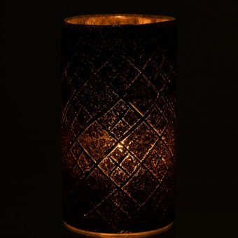Vase / Votive, Glass, Checkered (H:25cm x D:14cm)