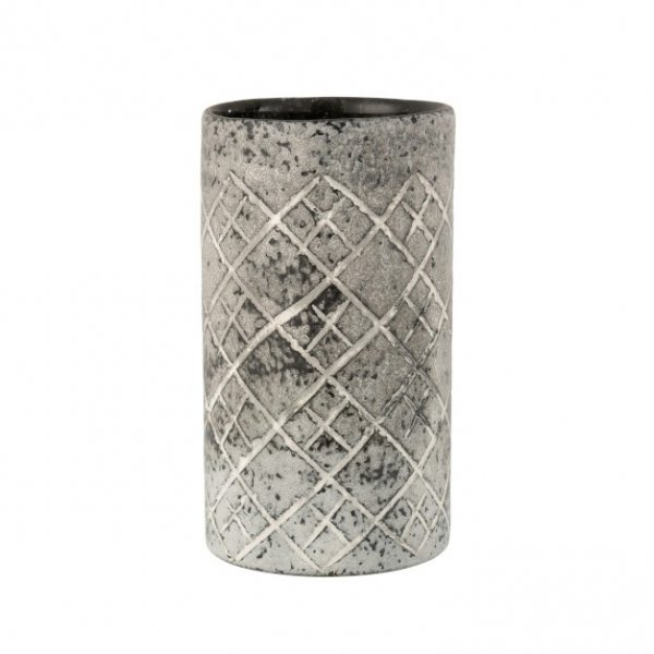 Vase / Votive, made from Glass, with a rustic Checkered pattern, Grey / Greige. From J-Line by JOLIPA.