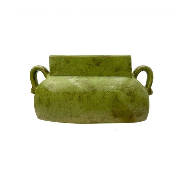 Vase with handles, made from Ceramic, and presented in Vintage Green. By Vanilla Fly of Denmark