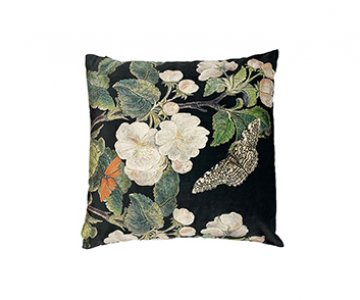 Velvet 'Apple Blossom Black' Cushion, with Duck down filling (optional), by Vanilla Fly of Denmark