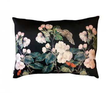 Velvet 'Apple Blossom Black' Cushion, with Duck down filling, by Vanilla Fly of Denmark