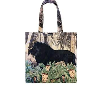 Velvet 'Black Lion' Tote Bag, with Cotton lining, by Vanilla Fly of Denmark