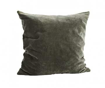 Velvet Cushion in Dust Green, with Duck down filling. By Madam Stoltz of Denmark