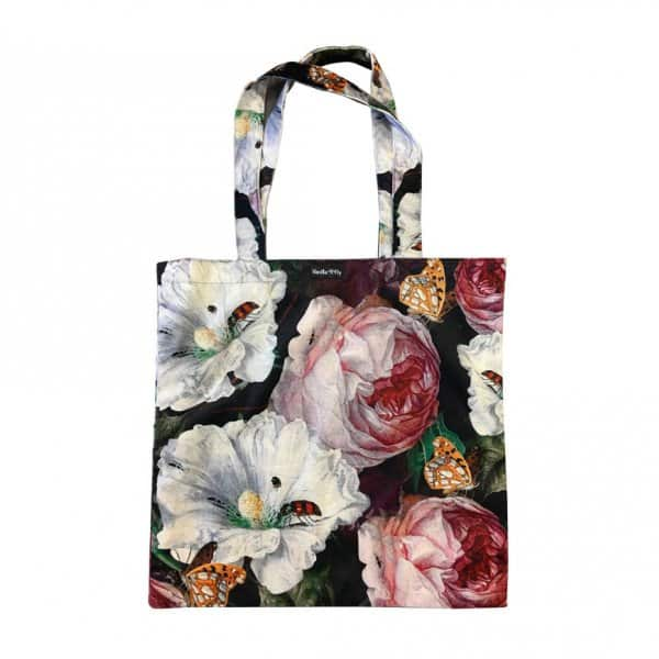 Velvet 'Hibiscus Rose' Tote Bag, with Cotton lining, by Vanilla Fly of Denmark