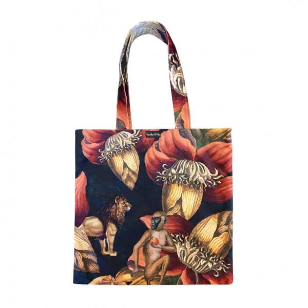Velvet 'Jungle Ape' Tote Bag, with Cotton lining, by Vanilla Fly of Denmark