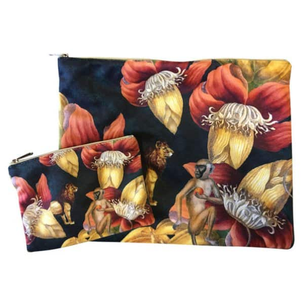 Velvet Makeup Bag & Pouch (set of 2), LA44E. By Vanilla Fly of Denmark