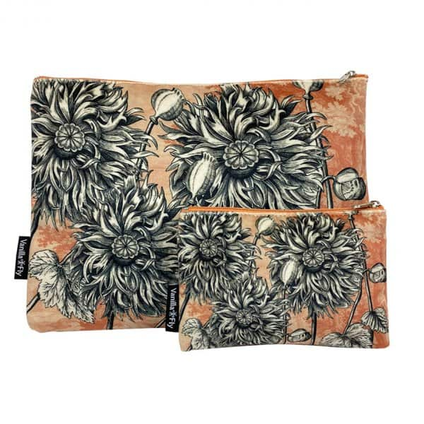 Velvet Makeup Bag & Pouch (set of 2), LA79B. By Vanilla Fly of Denmark