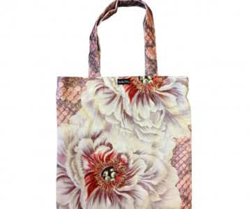 Velvet 'Peony' Tote Bag, with Cotton lining, by Vanilla Fly of Denmark