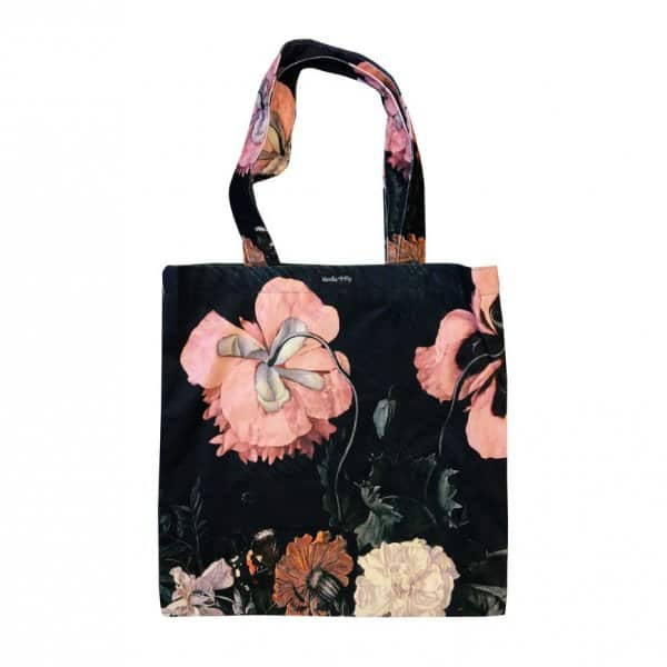 Velvet 'Poppy' Tote Bag, with Cotton lining, by Vanilla Fly of Denmark