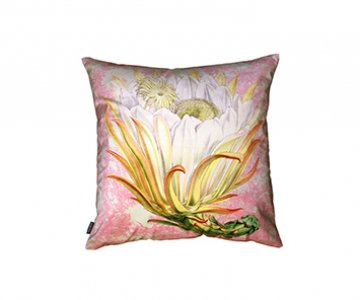 Velvet 'Protea Pink Toile' Cushion, with Duck down filling (optional), by Vanilla Fly of Denmark