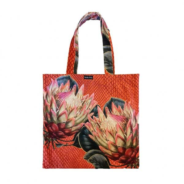 Velvet 'Protea' Tote Bag, with Cotton lining, by Vanilla Fly of Denmark