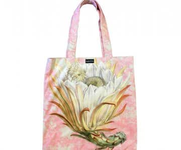 Velvet 'Toile Protea' Tote Bag, with Cotton lining, by Vanilla Fly of Denmark