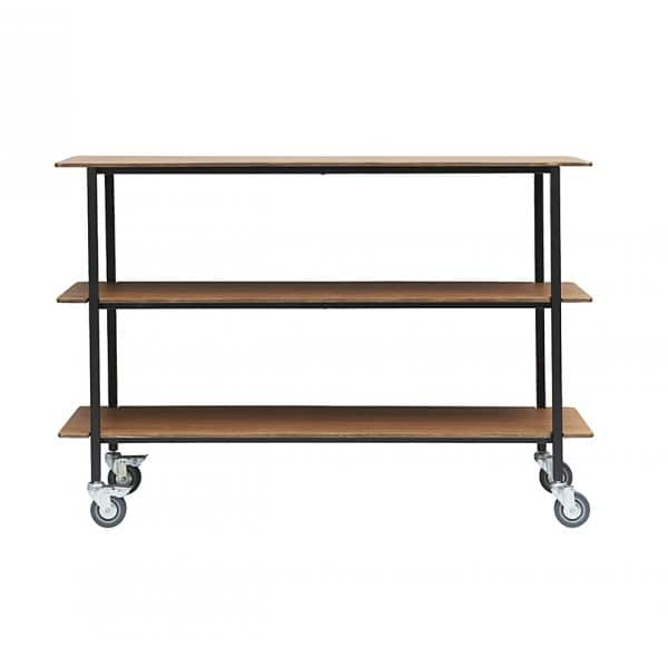 'Vene' Trolley with casters, with 3 shelves, made from Plywood & Iron. By House Doctor