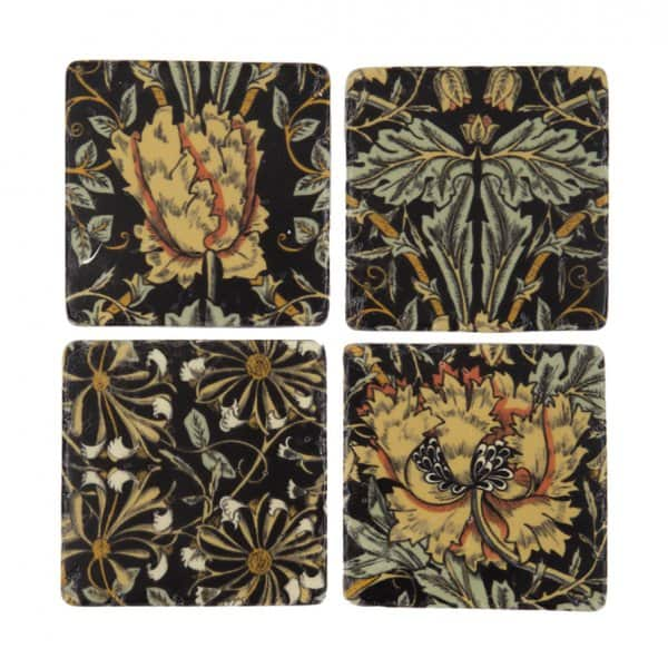 Vintage style, Black Floral pattern Ceramic Coasters, set of 4. By London Ornaments.