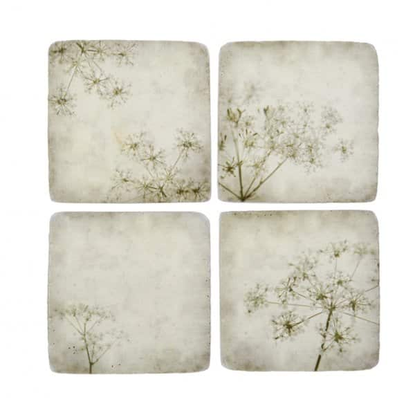 Vintage style, Gypsophila pattern Ceramic Coasters, set of 4 designs. By London Ornaments.