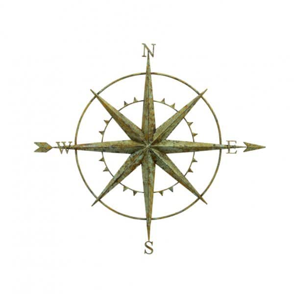 'Wall Compass' ornament, presented in antique Green, and made from Metal. By London Ornaments